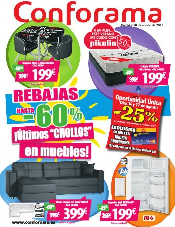 Cat logo conforama agosto 2013 rebajas especiales espa a - Catalogo conforama madrid ...