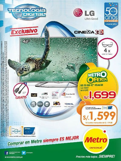 catalogo metro ofertas tecnologia artefactos octubre 2013 peru