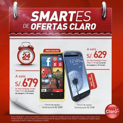 claro ofertas smartphones solo x 24 horas octubre 2013 peru