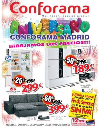 Catálogo Conforama Madrid de Aniversario Septiembre 2013