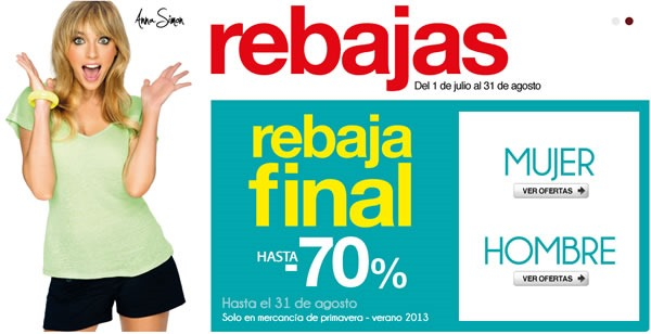 Rebaja Final El Corte Inglés: Hasta 70% de Descuento - Agosto 2013 - España